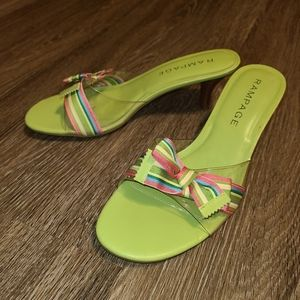 Rampage Neon Green Ribbon Bow Wooden Heel Sandals